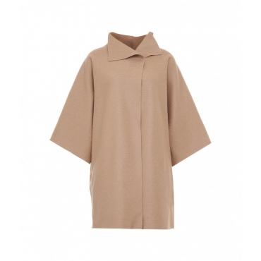 Cappotto kimono in lana pressata beige