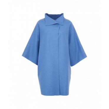 Cappotto kimono in lana pressata azzurro