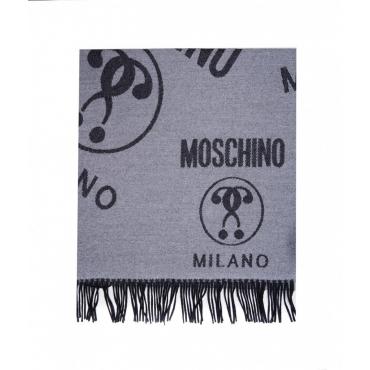 Sciarpa con scritta logo grigio