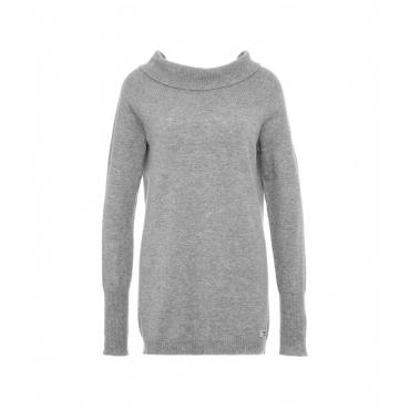 Maglione a maglia con etichetta con logo grigio