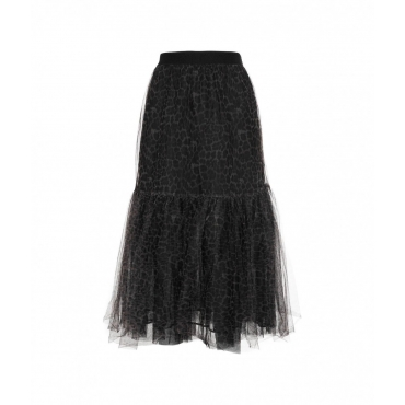 Gonna in tulle con stampa animale nero