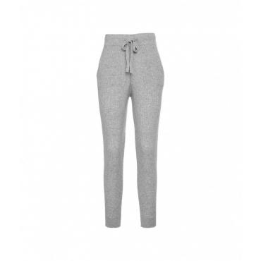 Pantaloni a maglia in cashmere grigio