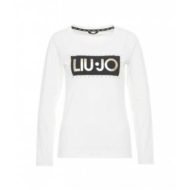 T-shirt con scritta logo bianco