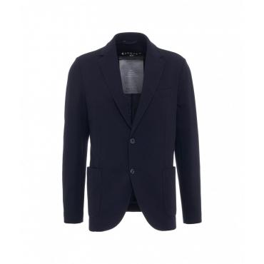Blazer in piquet lana blu scuro