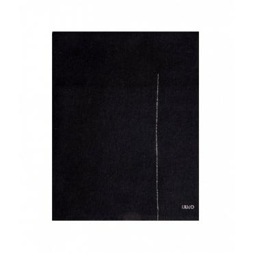 Sciarpa in maglia con logo strass nero