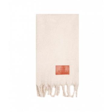 Sciarpa con etichetta logo crema