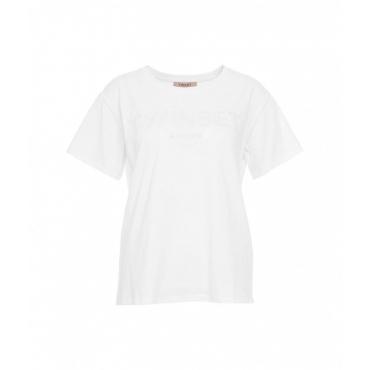 T-shirt con ricamo del logo bianco