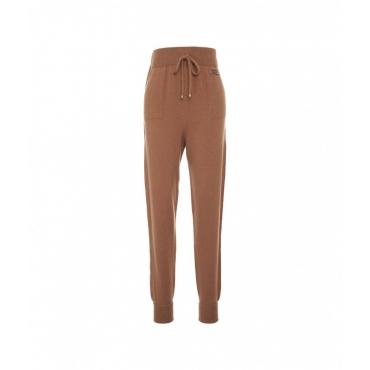 Pantaloni a maglia con logo marrone