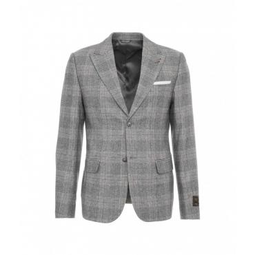 Blazer glencheck in misto lana grigio