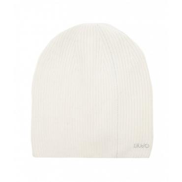 Berretto a maglia con strass bianco