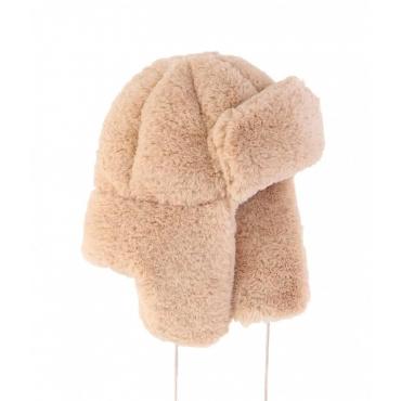 Cappello da aviatore in eco pelliccia beige
