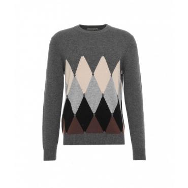 Maglione con motivo a maglia grigio