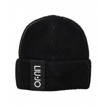 Berretto a maglia con etichetta logo nero