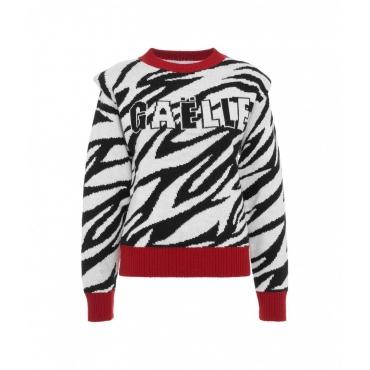 Maglione con motivo zebrato bianco