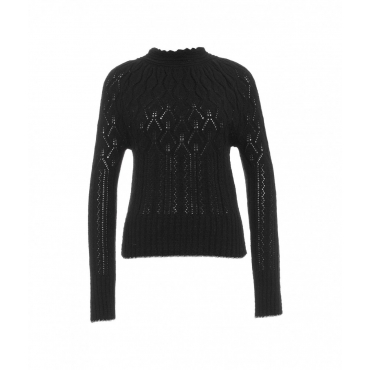 Maglia traforata in misto lana nero
