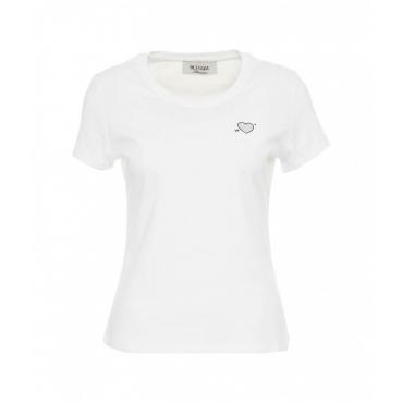 Maglietta con applicazione di strass bianco