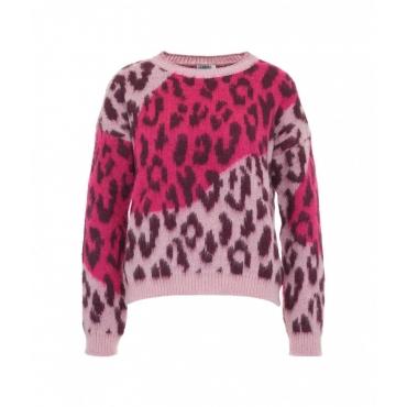 Maglione con stampa animalier pink