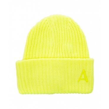 Beanie in maglia con logo giallo fluorescente