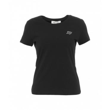 Maglietta con applicazione di strass nero
