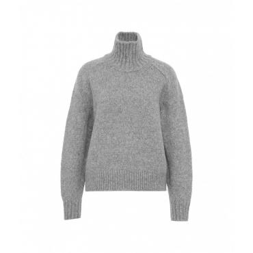 Mglione a dolcevita in misto lana grigio chiaro