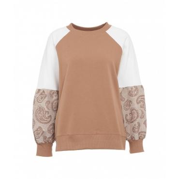 Sweatshirt con ricami Cammello