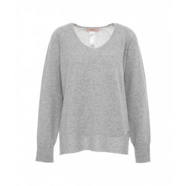 Maglione con misto lana grigio chiaro