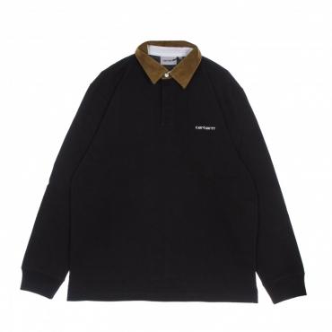 polo manica lunga uomo cord rugby l/s shirt BLACK/HAMILTON BROWN/WHITE