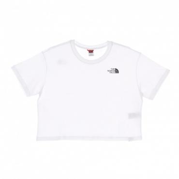 maglietta corta donna cropped simple dome tee WHITE