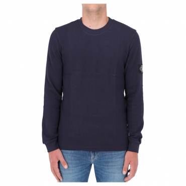 Felpa Calvin Klein Jeans Uomo Monogram Waffle Light CHW NIGHT SKY