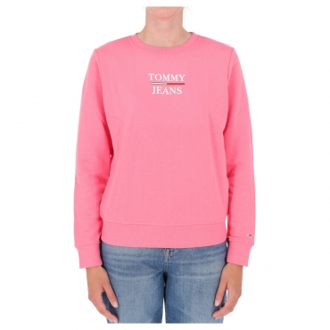 Felpa Tommy Hilfiger Jeans Donna Slim Terry Logo TIF PINK