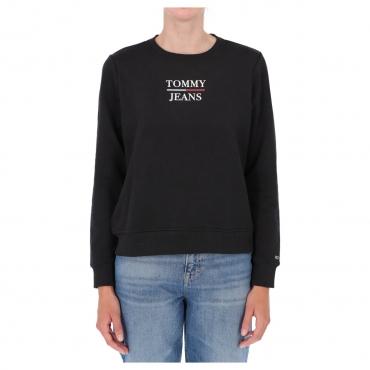 Felpa Tommy Hilfiger Jeans Donna Slim Terry Logo BDS BLACK