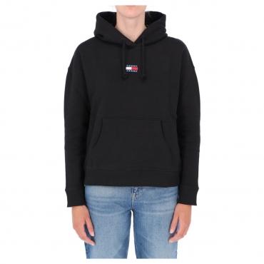 Felpa Tommy Hilfiger Jeans Donna Center Badge Hoodie BDS BLACK