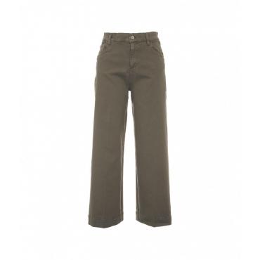 Wide leg jeans oliva