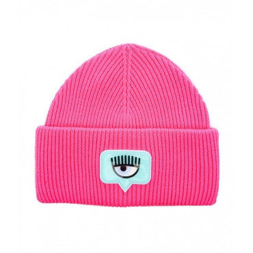 Beanie con logo patch pink
