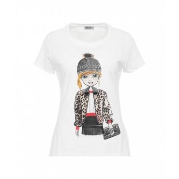 T-shirt con logo e strass bianco