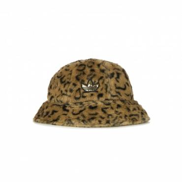 cappello da pescatore uomo sport faux fur printed bucket BROWN