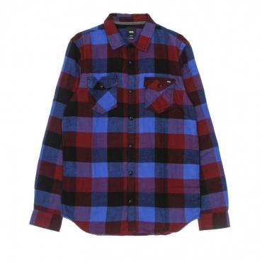 camicia manica lunga uomo box flannel shirt POMEGRANATE/NAUTICAL BLUE
