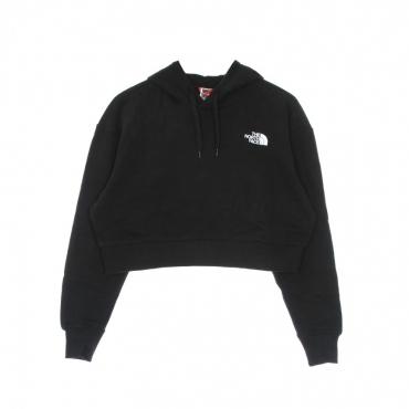 felpa cappuccio corta donna trend crop hoodie BLACK