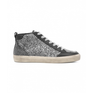 Sneakers High Top in glitter argento