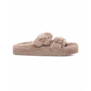 Pantofole in eco-pelliccia taupe