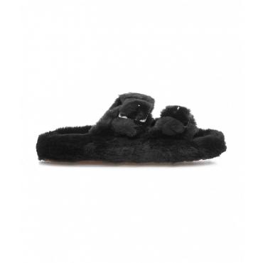 Pantofole in eco-pelliccia nero