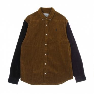 camicia manica lunga uomo triple madison cord l/s shirt TAWNY/BLACK/DARK IRIS