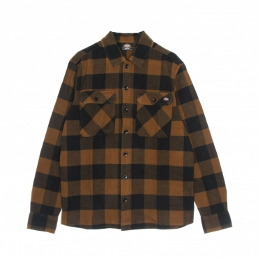 camicia manica lunga uomo new sacramento l/s shirt BROWN DUCK