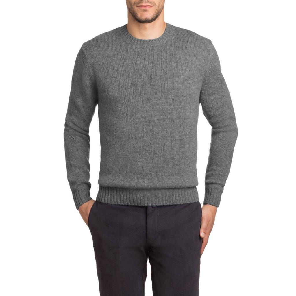 Pullover girocollo in lana Shetland 08 MGREY 08 MGREY