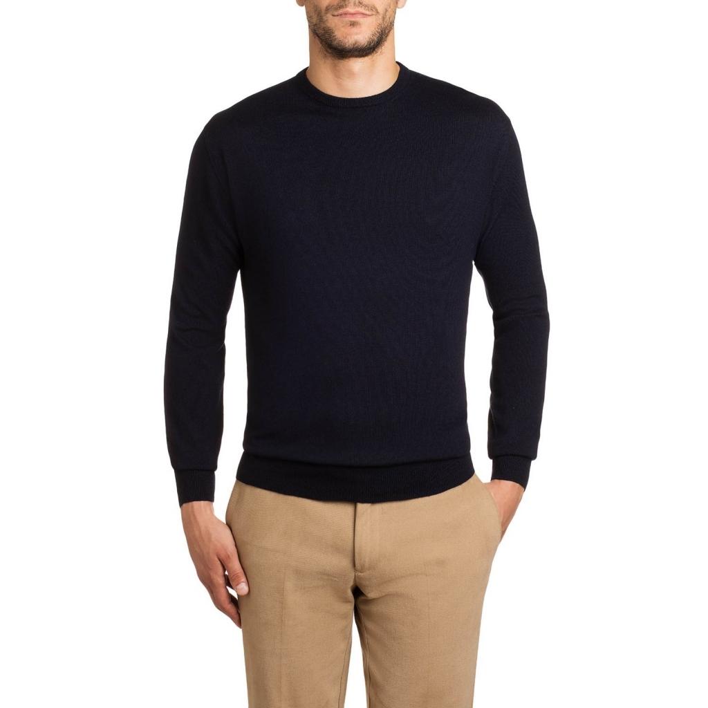 Pullover girocollo in lana merino 04 NAVYBLUE 04 NAVYBLUE