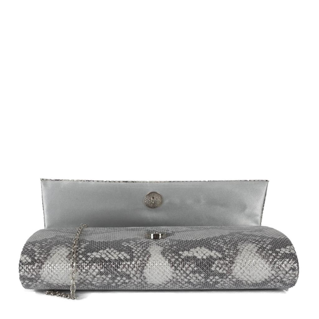 Pochette grigia argento con tracolla UNICO