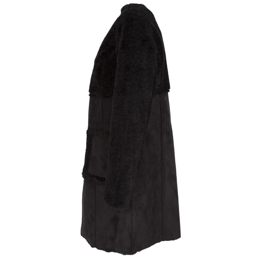 Cappotto scamosciato in eco-pelle ed eco-pelliccia NOIR NOIR