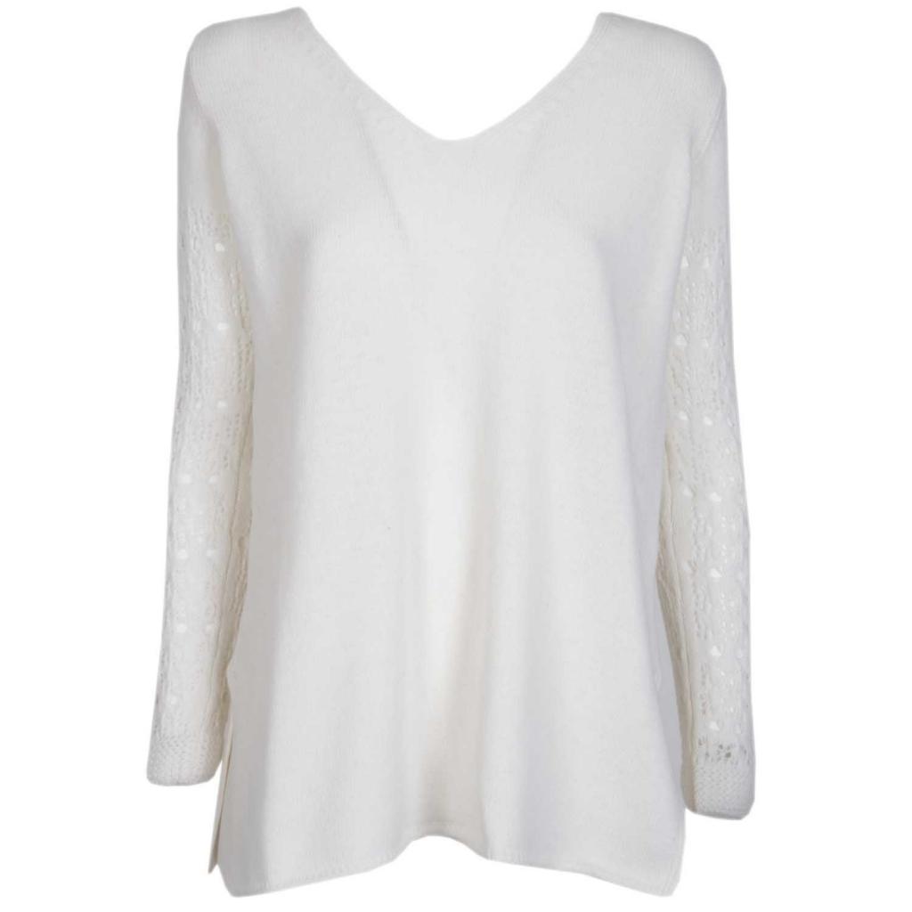 Maglione in lana merino con scollo a V e maniche lavorate 005OFFWH 005OFFWH
