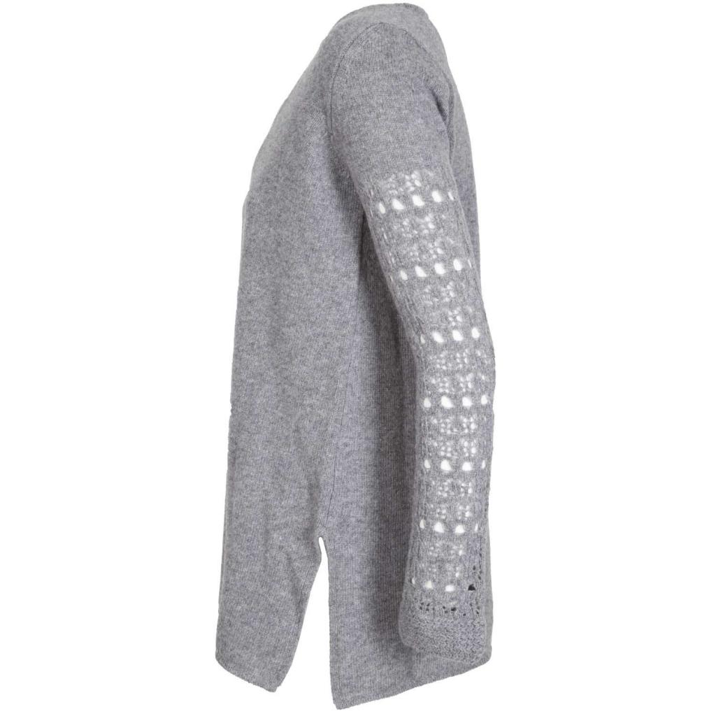 Maglione in lana merino con scollo a V e maniche lavorate 250GRAY 250GRAY