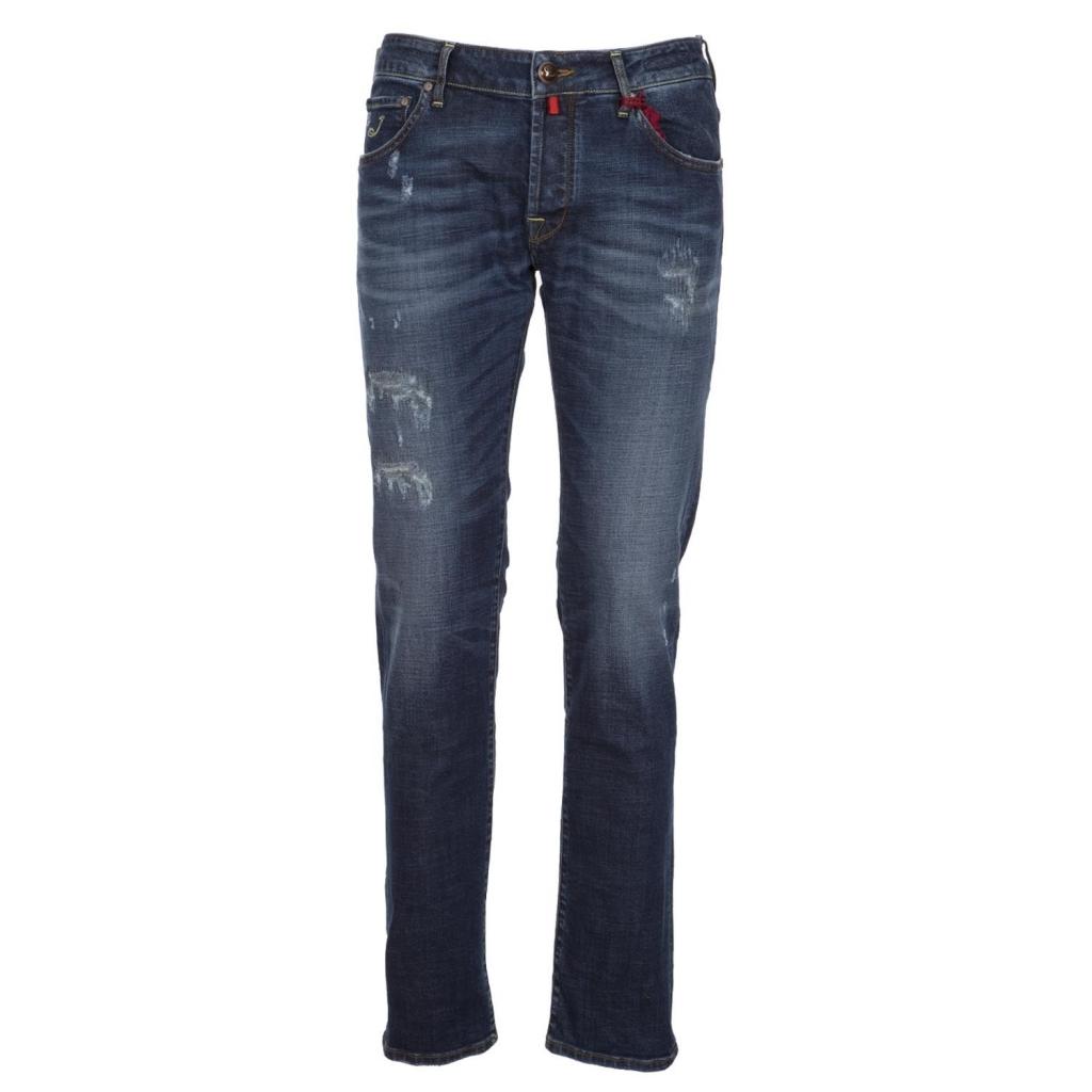 Jeans gamba dritta in denim blu scuro 005cohen 005cohen